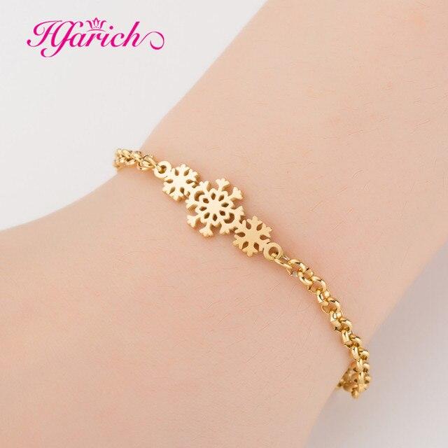 02e483e38 Hfarich Snowflake Cute Gold Bracelet Chain Bangle Lover Charm Snow Flower  for Women Girl Kids Christmas