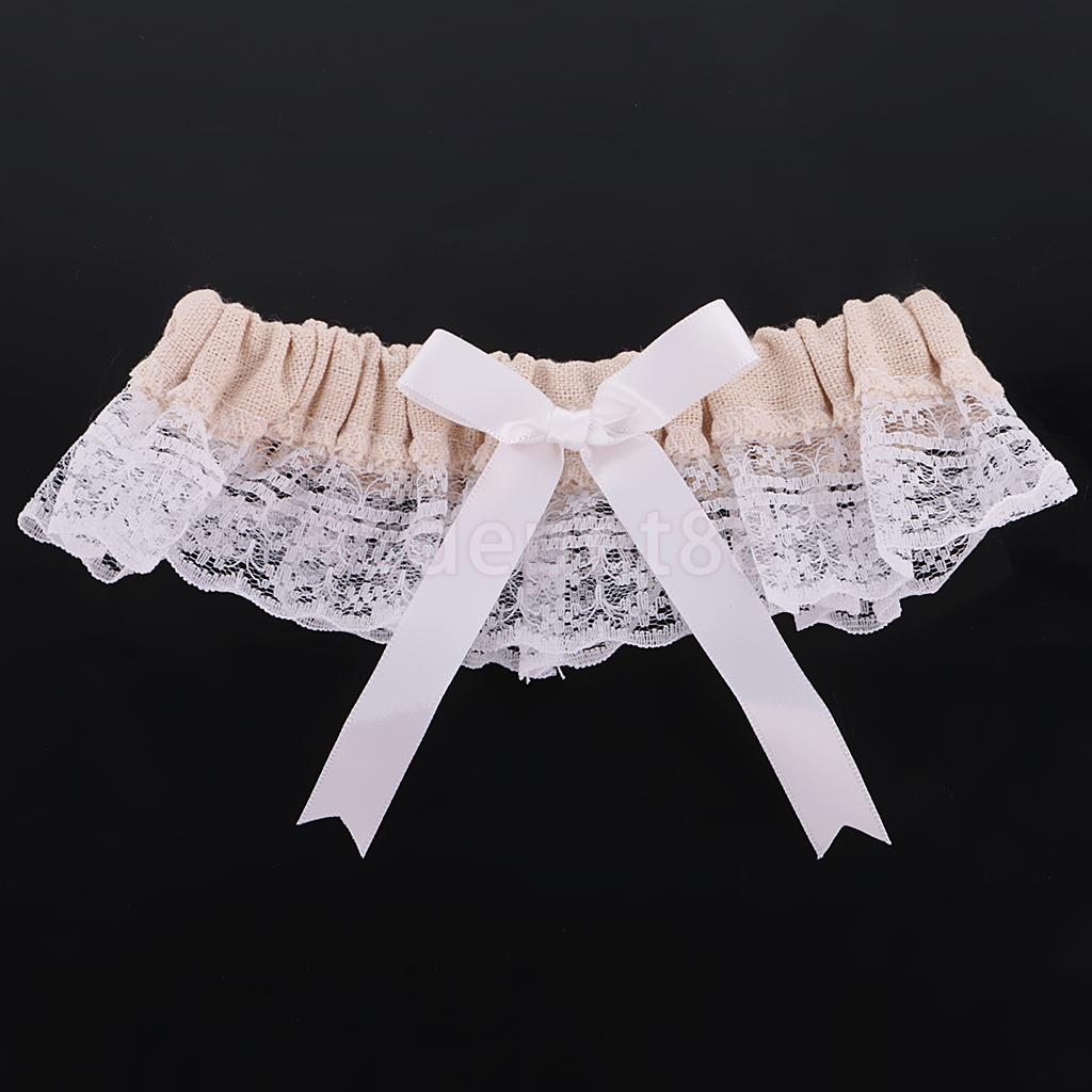 Wedding Leg Garter: Wedding Bridal Elastic Burlap Lace Flower Leg Garter With