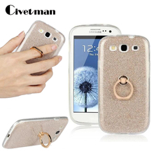 Cover Phone Case For Samsung Galaxy S3 SIII i9300 Neo i9300i Duos TPU Silicone Transparent Shell Flash Glitter Powder Ring Stent stylish protective silicone case for samsung i9300 translucent red