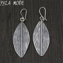 Hot Long Leaf Dangle Drop Earrings Fashion 925 Thai Silver Vintage Elegant Wholesale Women Wedding Jewelry
