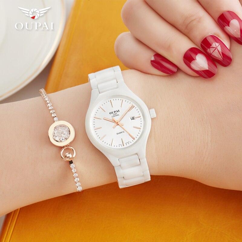 Керамика часы модные Повседневное Для женщин кварцевые часы Relojes Mujer Oupai брендовые Роскошные наручные часы для девочек элегантное платье ча...