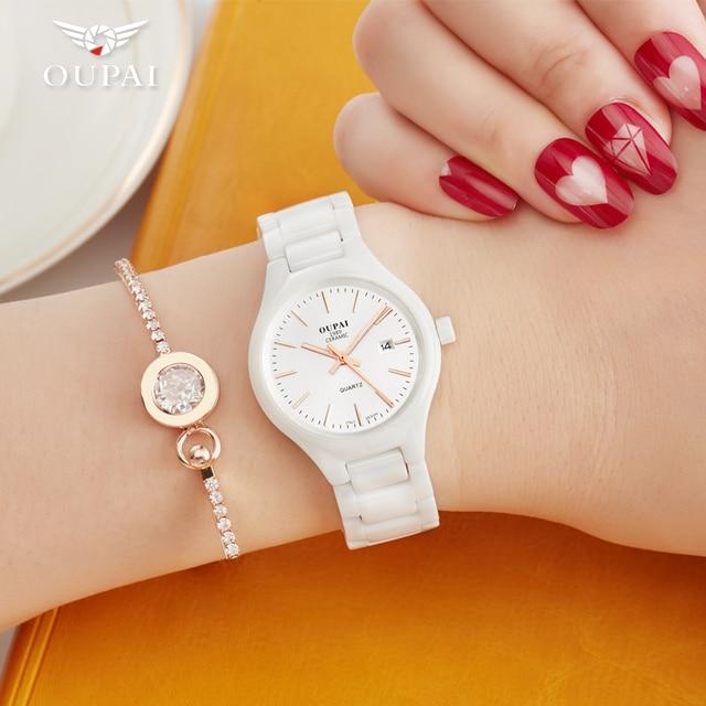 Ceramic watch Fashion Casual Women quartz watches relojes mujer OUPAI brand luxu