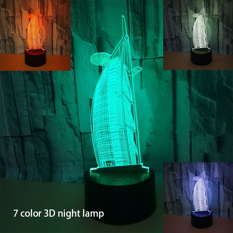 Amazing Lugger Shape Night Light Colorful Sailing Hotel 3D Cartoon RGB Table Lamp for Office Hotel Bedroom Bar Touch Sensor