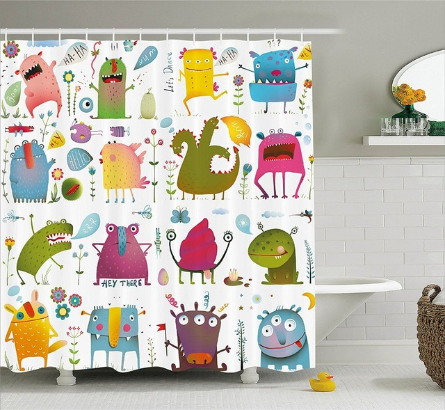 Cute Cartoon Monsters Kids Design Fun Creatures in the Garden ...