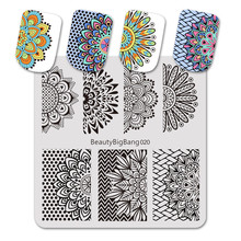 BeautyBigBang 6*6cm Stamping For Nails Floral Pattern Mandala Series Nail Plates Template Art Stencils Mold BBB020