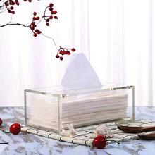 Capa retangular de papel para banheiro, porta papel higiênico acrílico transparente armazenamento automático de tecido