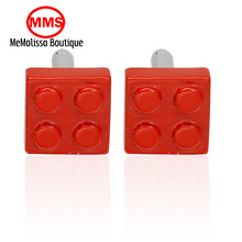MeMolissa Personalized Cufflinks red blocks Cuff Links for Mens Gifts Dad Customized Cuff Buttons Wedding Favors For Fathers Day