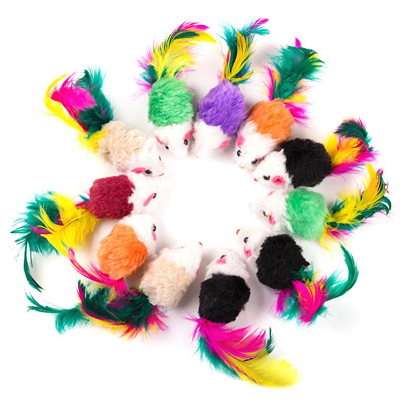 10 Pcs False Mouse font b Pet b font Cat Toys Mini Playing Toys with Colorful