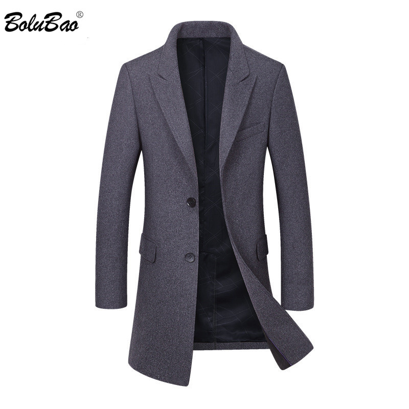 BOLUBAO Brand Men Wool Coat Men's Fashion Solid Color Casual Slim Fit Overcoat Winter New Comfortable Wool Blends Coats Male
