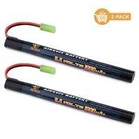 Melasta 2Pack 2 3A 8 4v 1600mAh Stick NIMH Airsoft Guns Battery Pack With Mini Tamiya