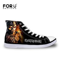 FORUDESIGNS 2017 Fashion Mens High Top Canvas Shoes Male Casual Flats Iron Maiden Man Lace Up
