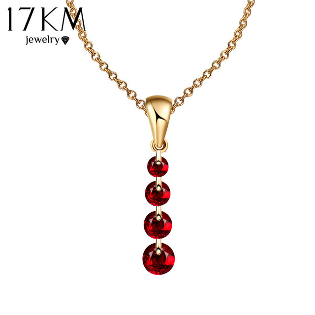 17KM 8 Colors Crystal Long Water Drop Necklaces & Pendant Maxi collares collier Statement Necklace colar Women Gift
