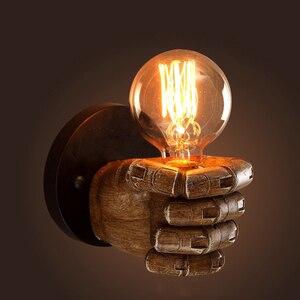 Image 3 - Светодиодный настенный светильник в стиле ретро креативный подвесной светильник из смолы для ресторана, кафе, спальни, гостиной, настенные светильники, украшение, E27 лампа 110 В 220 В