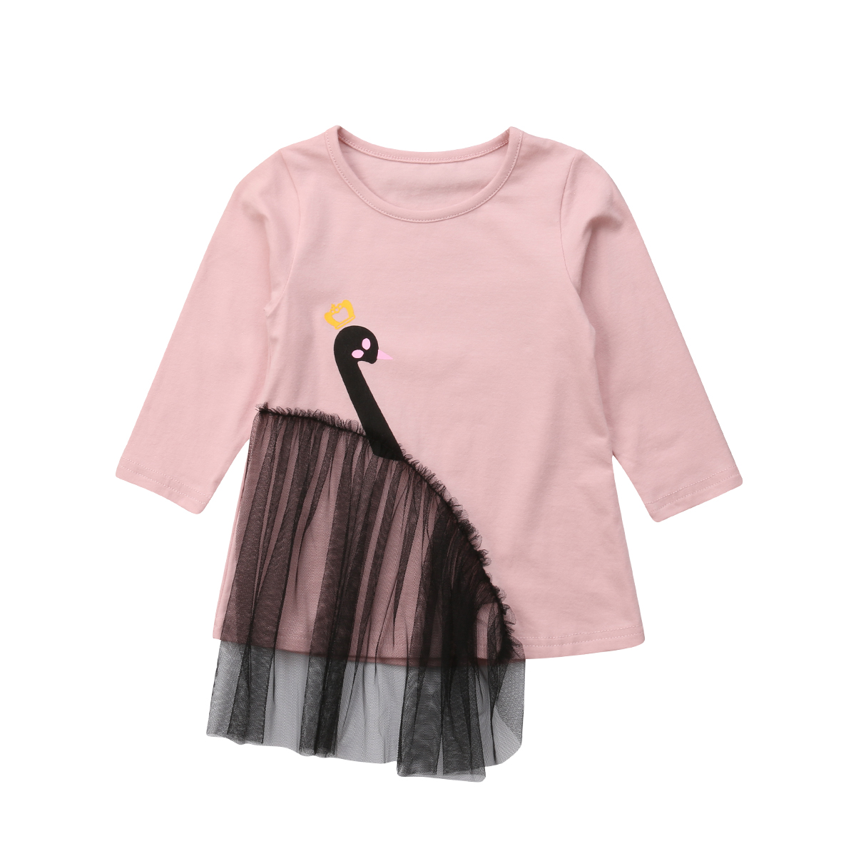 Pullover Sweatshirts Ehrlich Herbst Winter Nette Reizende Flamingo Print Sweatshirt Tops Langarm Pullover Rosa Spitze Baumwolle Kleid Tops 6m-5y Mutter & Kinder