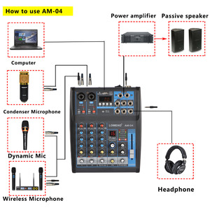 Image 5 - LOMOEHO AM 04 2 Mono + 1 4 canales estéreo Bluetooth USB 48V Phantom mezclador de Audio profesional DJ