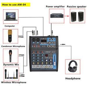 Image 5 - LOMOEHO AM 04 2 Mono + 1 Stereo 4 kanały Bluetooth USB 48V Phantom profesjonalny mikser Audio DJ