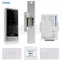 DIYSECUR 125 KHz Leitor RFID Metal Porta Teclado Sistema de Segurança Controle de Acesso Kit + Greve Elétrica Trava