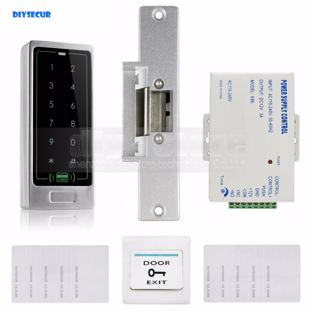 DIYSECUR 125KHz RFID Reader Metal Keypad Door Access Control Security System Kit + Electric Strike Lock diysecur 125khz rfid metal case keypad door access control security system kit electric strike lock power supply 7612