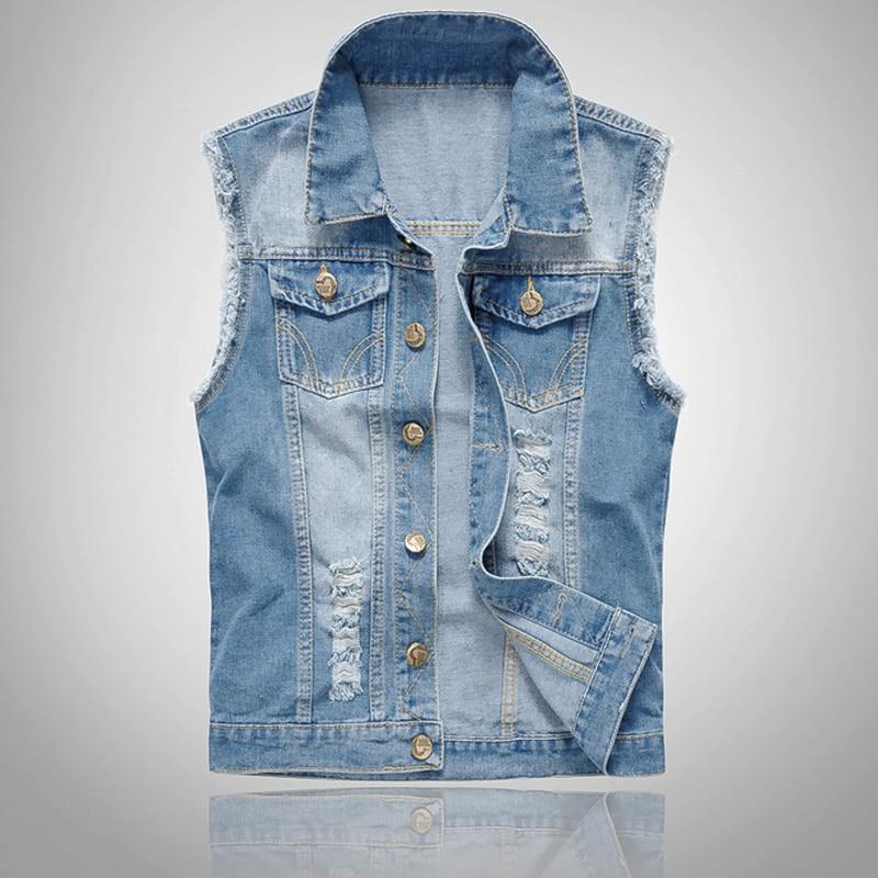 Fashion Men Denim Vest Sleeveless Washed Jeans Wai...