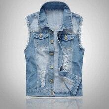 Fashion Men Denim Vest Sleeveless Washed Jeans Waistcoat Ripped Jacket Tops Plus Size 6XL H9