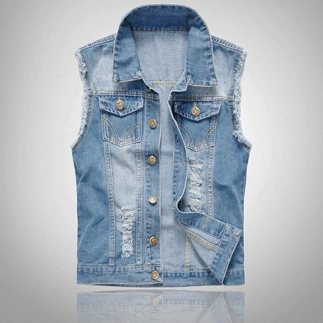 2700e81f5fc9 Homens da moda Denim Colete Sem Mangas Colete Jeans Lavados Rasgado Jaqueta  Tops Plus Size 6XL