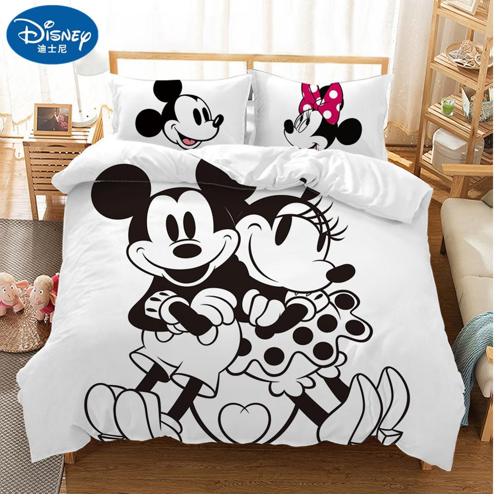 Image 5 - Disney Cartoon Mickey Minnie  Bedding Set Lovely Couple Queen King Size Bedding Set Children Duvet Cover Pillow Cases-in Bedding Sets from Home & Garden
