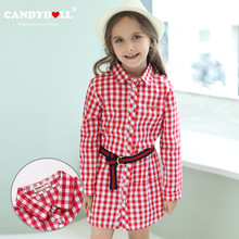 CANDYDOLL  The new autumn childrens dress casual plaid long style of shirt cotton sleeve girls