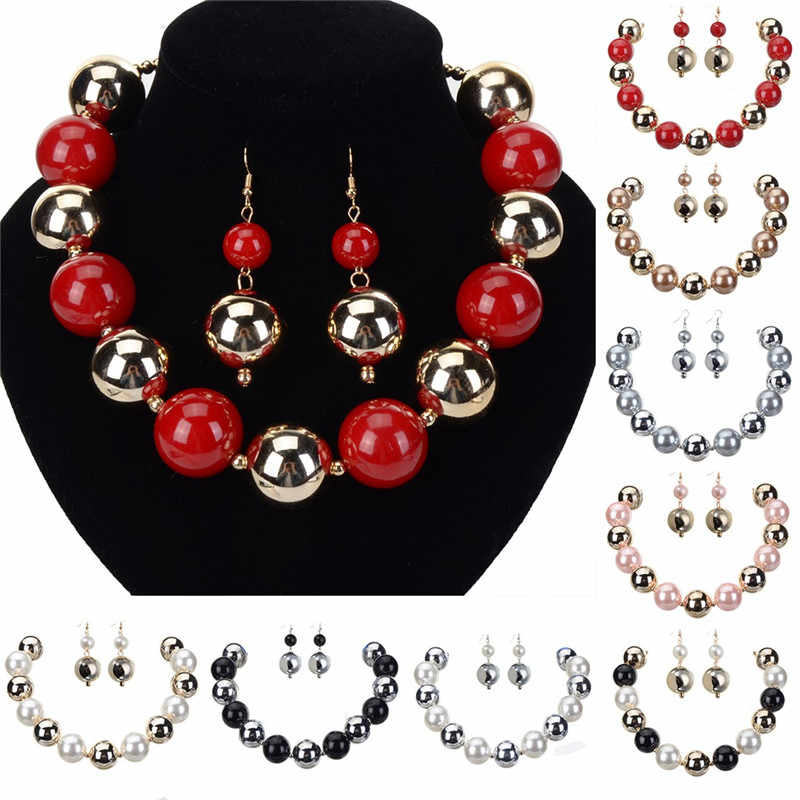 JEROLLON Accessories CCB Beads Necklace Earrings Sets Jewelry Christmas Gifts African Beads Necklace With Earrings Pendant