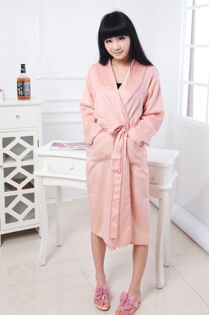 Roupões de banho de seda pura das mulheres cor sólida mulheres homewear robe noite desgaste nobre manto