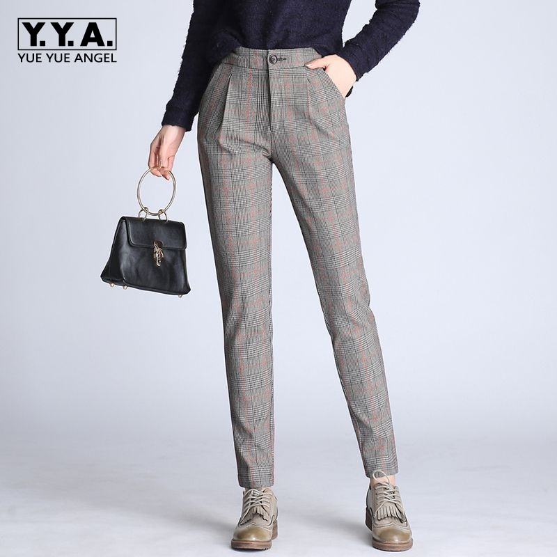 2018 New Summer Trousers Fashion OL High Waist Checkered Womens Trousers Casual Slim Fit Pencil Pantalones De Mujer Plus Size black white high waist jeans for women new hole pantalones vaqueros mujer all match solid trousers female plus size denim pants