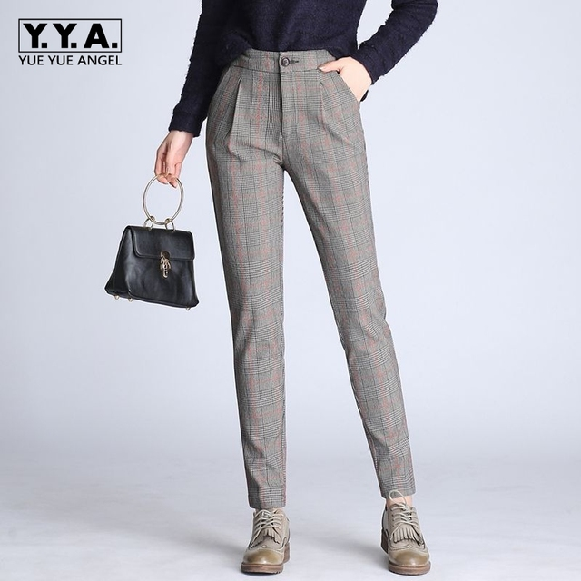 d30b40b33fdec8 2019 New Summer Trousers Fashion OL High Waist Checkered Womens Trousers  Casual Slim Fit Pencil Pantalones De Mujer Plus Size