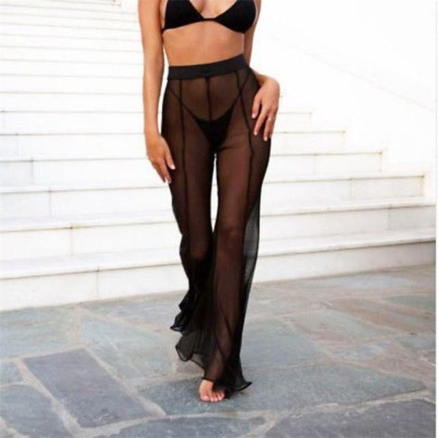 d3560d3f6e5d6 New Sexy Ruffle Women Beach Mesh Pants Sheer Wide Leg Pants Transparent See  through Sea Holiday Cover Up Bikini Trouser Pantalon