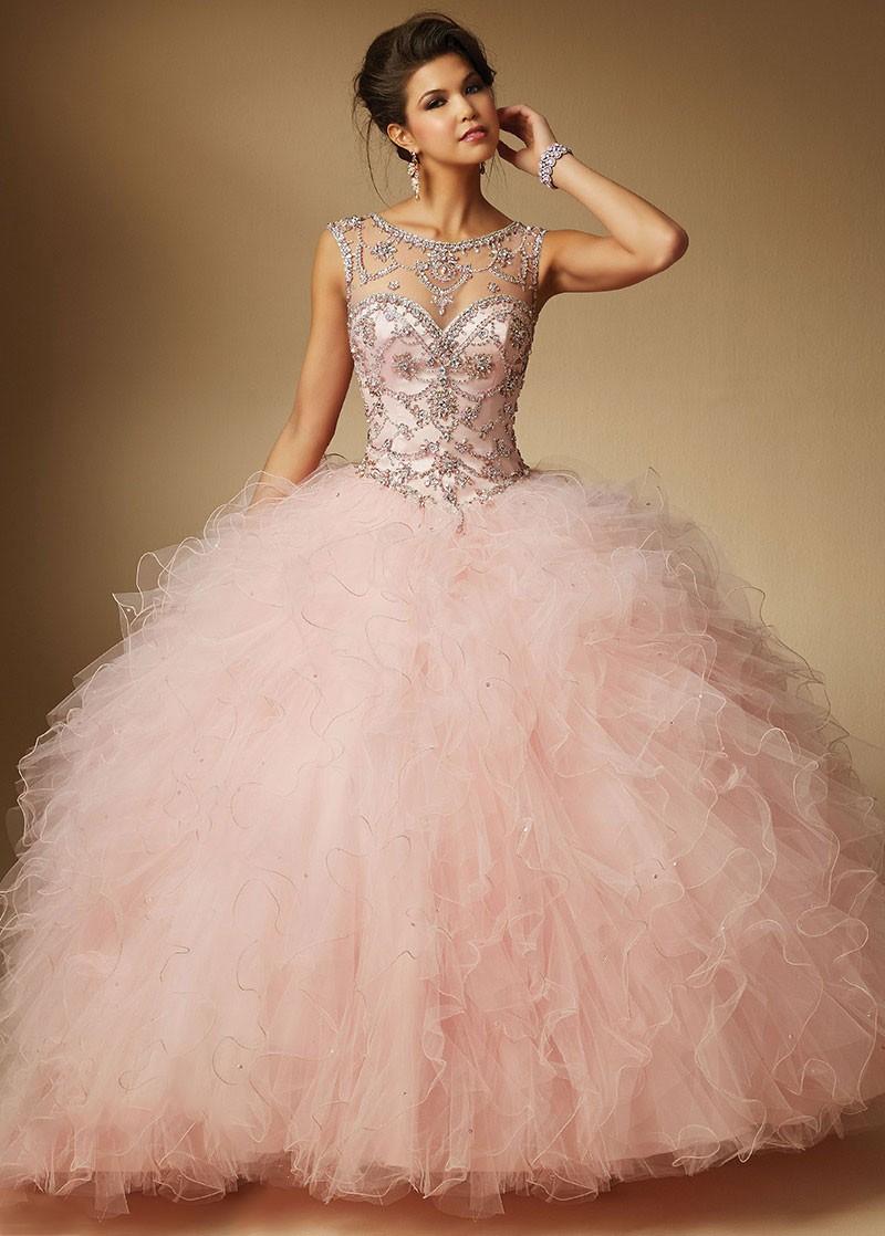 2016 nueva llegada baratos vestidos quinceañera vestido de bola rosa ...