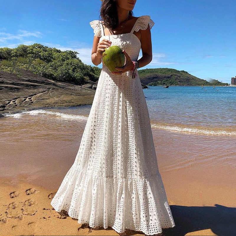 f8819ab75 Bohemian White Lace Dress Boho Beach Dresses Chic Women Maxi Dress Womens A  Plus Size Summer