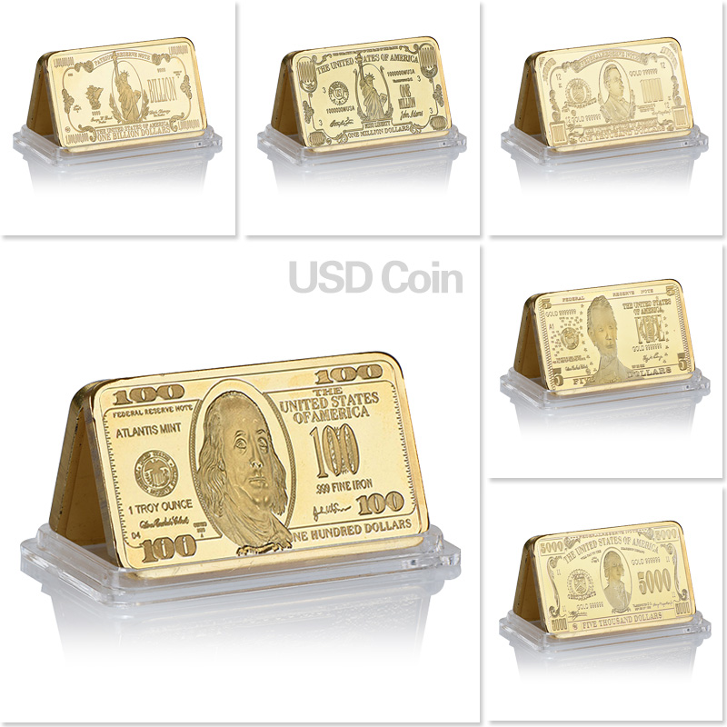 WR USA Banknote Gold Bar 999.9 Gold 100 Dollar Gold Bullion Bar Replica Coin Copy Metal Crafts for Gifts