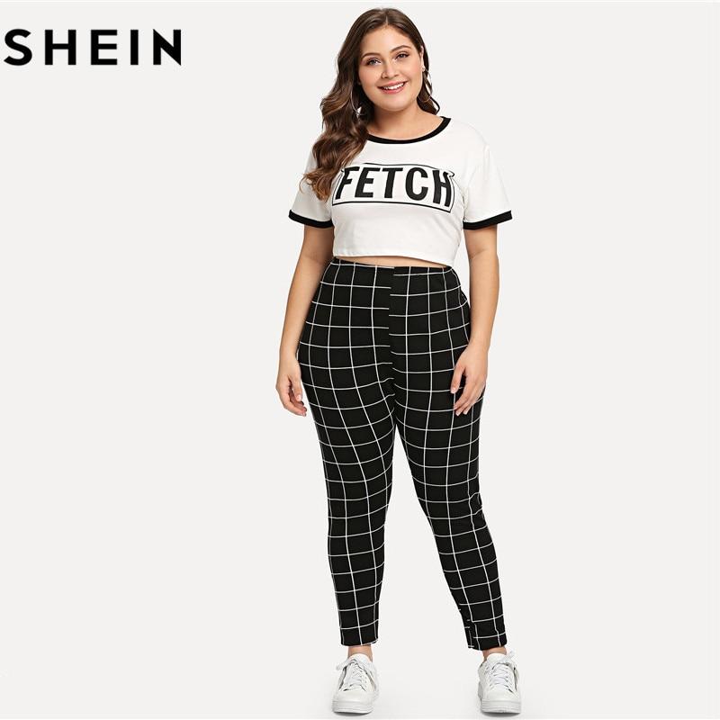 SHEIN Schwarz Und Weiß Plaid Plus Größe Mittlere Taille Frauen Leggings Herbst Winter Grid Print Lange Casual Legging