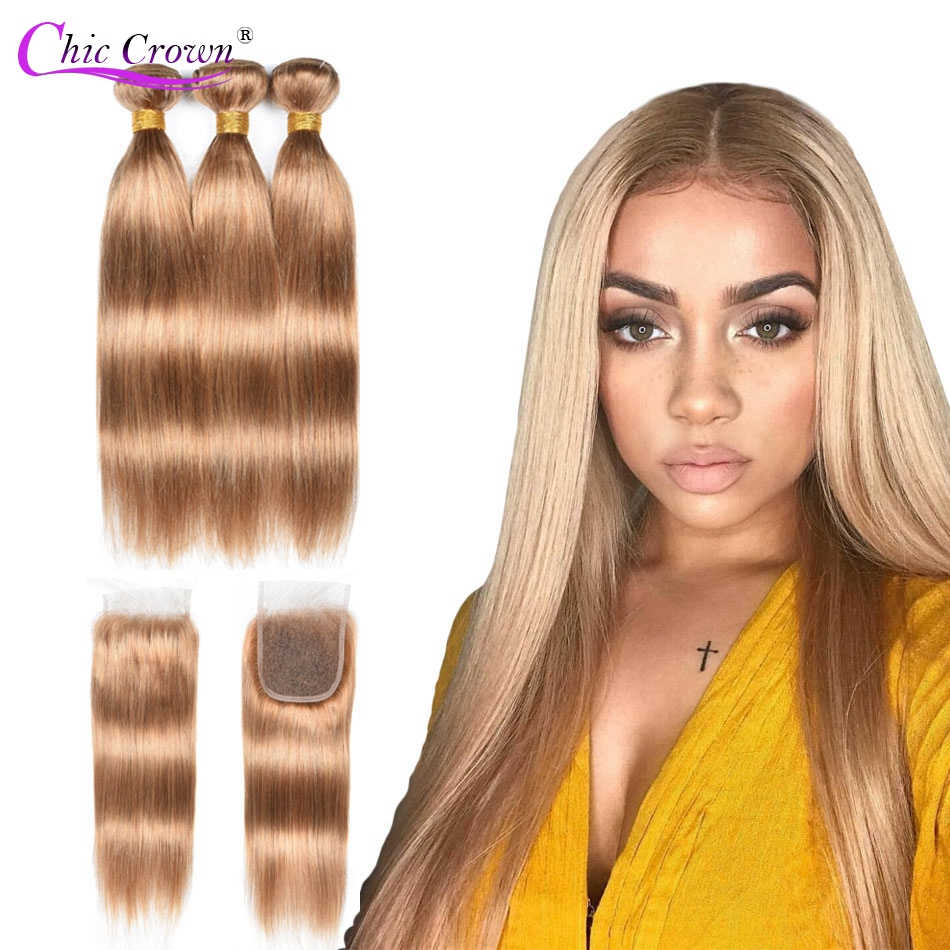 Color 27 Bundles With Closure Honey Blonde Bundles With Closure Brazilian Hair Weave Straight Human Hair 3 Cheap Bundles-in 3/4 Bundles with Closure from Hair Extensions & Wigs    1