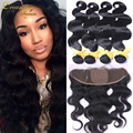 Malysian13*4 Ear To Ear Silk Base Frontal Closure With Bundles 2/3/4 lot Body Wave Human Virgin Hair With Closure Bleached Knots