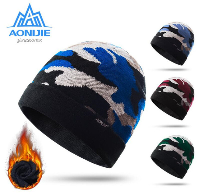 0659d593a4f AONIJIE Running Cap Men Women Winter Warm Sports Knitted Hats Outdoor  Sports Snowboarding Cap For Running