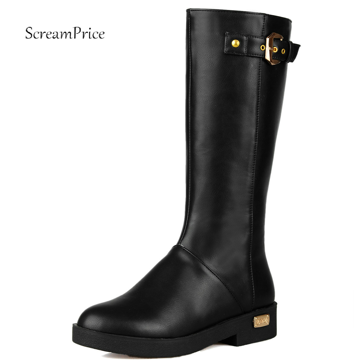 Women Flat Boots Zipper Round Toe Fashion Knee High Boots PU Leather Autumn Winter Ladies Shoes Black Brown Plus Size 2018 New plus size 34 43 winter autumn women soft leather knot low heels lovely knee high boots 3colors pink ladies fashion female shoes