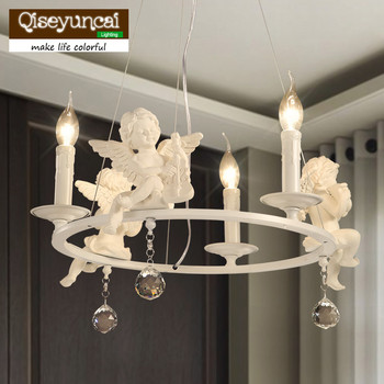 Qiseyuncai Modern Resin Angels Pendant Lights with Decorative Crystal Pendant. Suspension Lamp lustre Lighting Candle lights