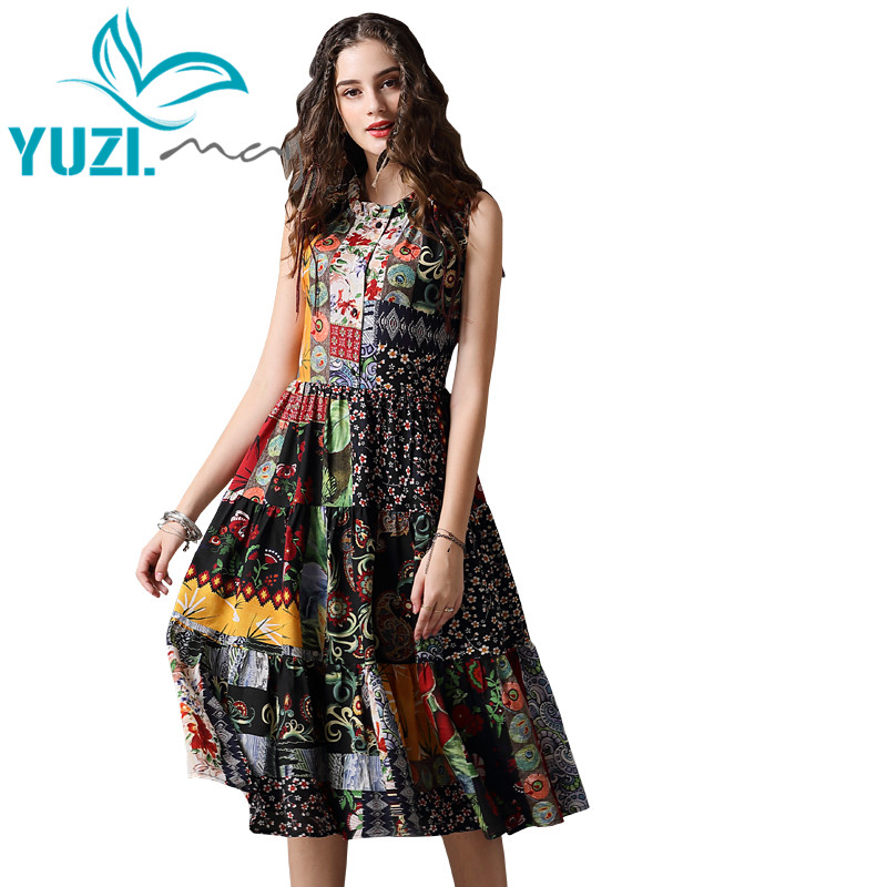 Summer Dress 2018 Yuzi.may Boho New Chiffon Vestidos O Neck Sleeveless Swing Hem Floral Print  Women Sundress A82105 Dress Femal-in Dresses from Women's Clothing    1