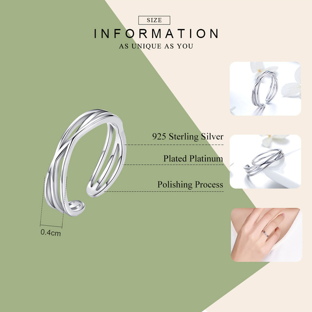 BAMOER Authentic 925 Sterling Silver Geometric Twisted Wave Open Size Finger Rings Women Wedding Engagement Jewelry SCR483 1