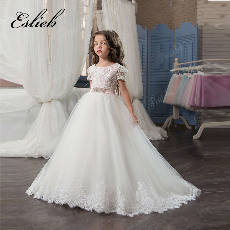 Elegant   Flower     Girl     Dress   For Wedding Lace Appliques With Sash Short Sleeve Ball Gown   Girl's   Pageant Gowns Hot Sale New Arrival