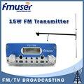 Free shipping FMUSER FU-15A 15W FM transmitter radio broadcaster+DP100 1/2 wave Dipole antenna KIT