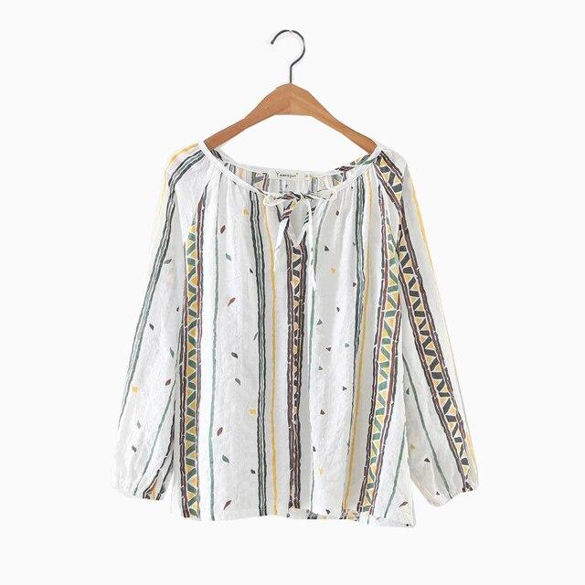 b5af1feeec3f2 Autumn Women Geometric Print Neckline Frenulum Shirt Long Sleeve O-Neck  Ethnic style Blouse Female Casual Tops Blusas Feminina