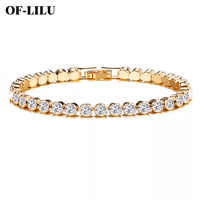 New Fashion rhinestone natural zircon metal chain bracelet men's hip hop wind jewelry alloy material gold and silver ladies DIY