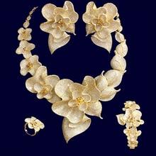 GODKI 103 مللي متر فاخر للغاية بيغونيا زهرة المرأة الزفاف Naija العروس زركون قلادة دبي 4 قطعة مجموعة مجوهرات عالية مجوهرات