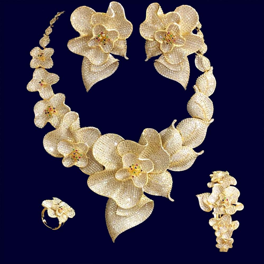 GODKI 103mm Super Luxury Begonia Flower Women Wedding Naija Bride Cubic Zirconia Necklace Dubai 4PCS Jewelry Set High Jewelry