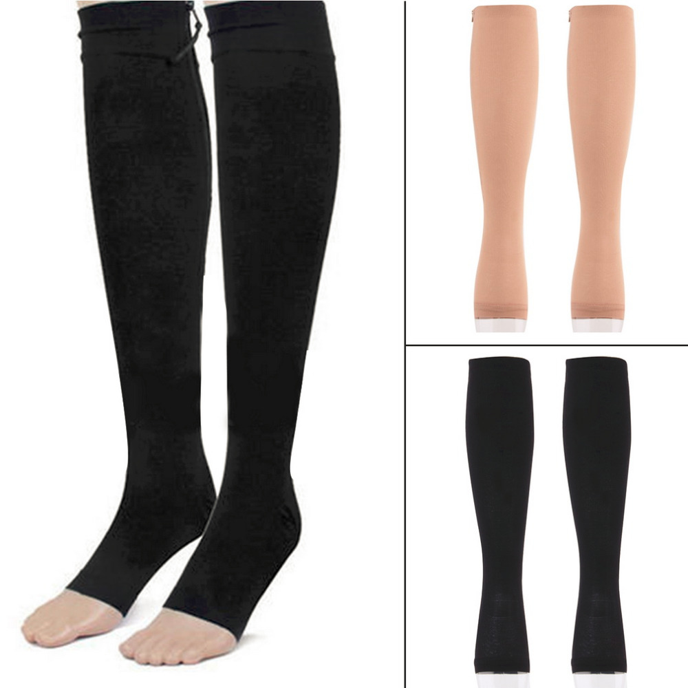 OUTAD Travel Sports Yoga Stockings Miracle Antifatigue Compression Socks Soothe Achy Knee Socks Supports Open Toe Zipper